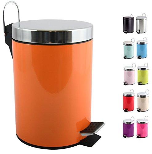 MSV Kosmetikeimer Orange Mülleimer Treteimer Abfalleimer - 3 Liter – mit Herausnehmbaren Inneneimer