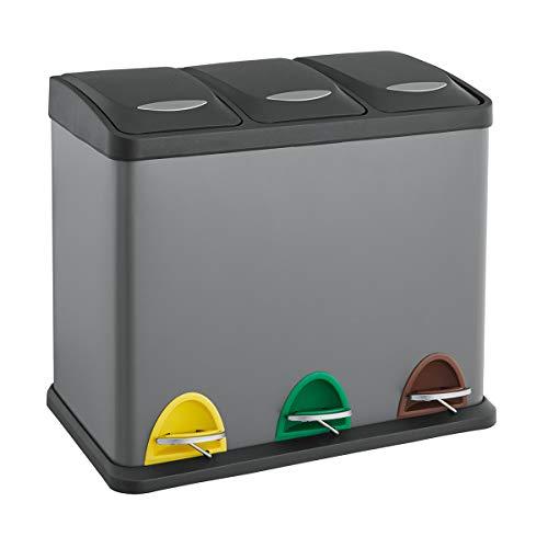 SVITA TC3X20 grau Treteimer 60L 3x20L Abfalleimer Mülleimer Mülltrennung Stahl