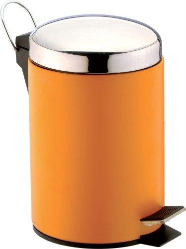 SANWOOD 1007808 Treteimer, 3 liter orange, Metall pulverbeschichtet, Deckel: Edelstahl verchromt, Kunststoffeinsatz