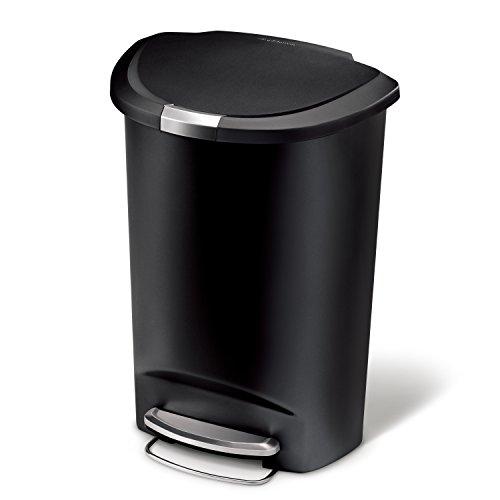 simplehuman 50 Liter, halbrund schwarzer Kunststoff Treteimer, Plastik, Edelstahl, 35.5 x 48 x 67.5 cm