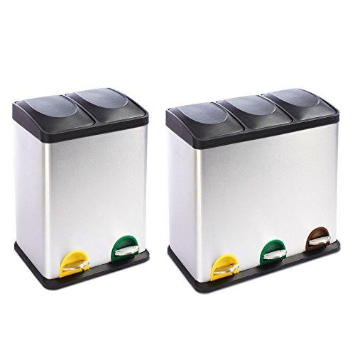Mülleimer Trennsystem Brandon | Testurteil Gut | Treteimer aus Edelstahl | Abfalleimer für die Mülltrennung in der Küche, Mülltrennsystem | 2 Größen (2 Kammern, 36L Fassungsvermögen)