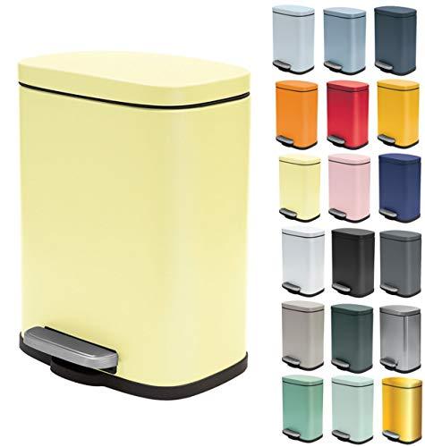 Spirella Kosmetikeimer 5 Liter Edelstahl mit Absenkautomatik und Inneneimer Akira Badezimmer Mülleimer Softclose Abfalleimer gelb matt