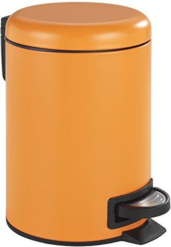 Wenko Kosmetik Treteimer Leman Orange-Mattiert Kosmetikeimer mit Tretmechanismus Fassungsvermögen 3 L, Stahl, 22.5 x 17 x 25 cm