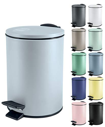 Spirella Kosmetikeimer 3 Liter Edelstahl mit Absenkautomatik und Inneneimer Adelar Badezimmer Mülleimer Softclose Abfalleimer Ice Blau