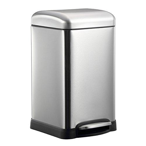 HARIMA Mülleimer 20L | Abfallbehälter Küche, Schlafzimmer, Badezimmer, Garten ökologischer Pedalkorb mit Kuppeldeckel | Edelstahl | für Papier, Glas, Lebensmittelabfälle