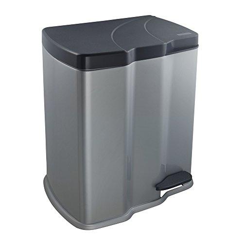 keeeper Treteimer mit 2 Abfallbehältern, 7 l + 15 l, Gunnar, Silber
