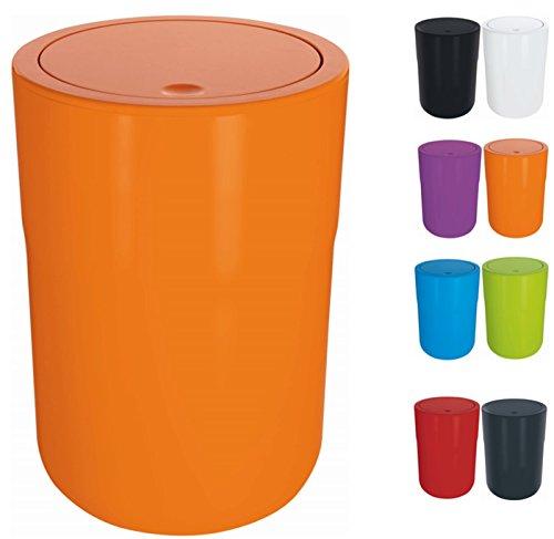 Spirella Design Kosmetikeimer Cocco mit Extra Ring für Müllbeutel Treteimer Schwingdeckeleimer Abfallbehälter mit Schwingdeckel 5 Liter (ØxH): 19 x 26 cm Orange