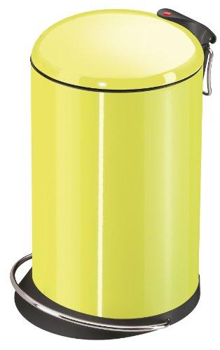 Hailo TOPdesign M, Mülleimer aus Stahlblech, 13 Liter, breite Metall-Fußreling, Müllbeutel-Klemmung, Metall-Tragegriff, made in Germany, 0516-790