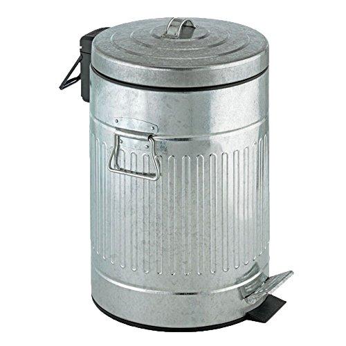 WENKO 18689100 Treteimer New York Easy Close 12 Liter - Absenkautomatik, Fassungsvermögen 12 L, Metall, 25.5 x 42 x 25.5 cm, Matt